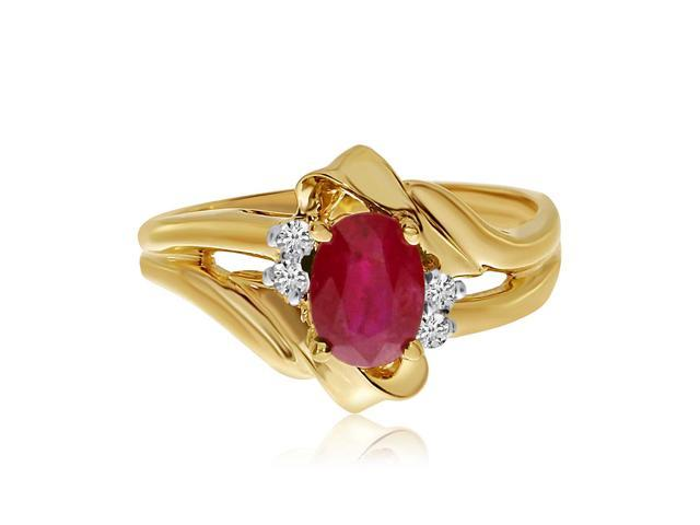 14k Yellow Gold Ruby And Diamond Ring (Size 8)