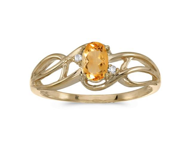 14k Yellow Gold Oval Citrine And Diamond Curve Ring (Size 4.5)