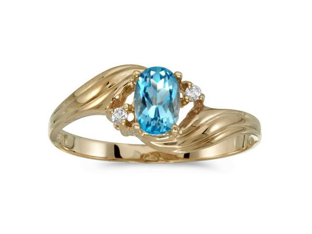 10k Yellow Gold Oval Blue Topaz And Diamond Ring (Size 6.5)