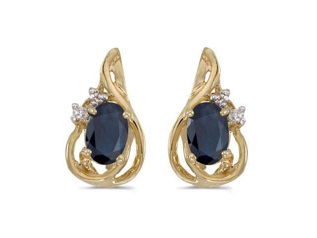 14k Yellow Gold Oval Sapphire And Diamond Teardrop Earrings