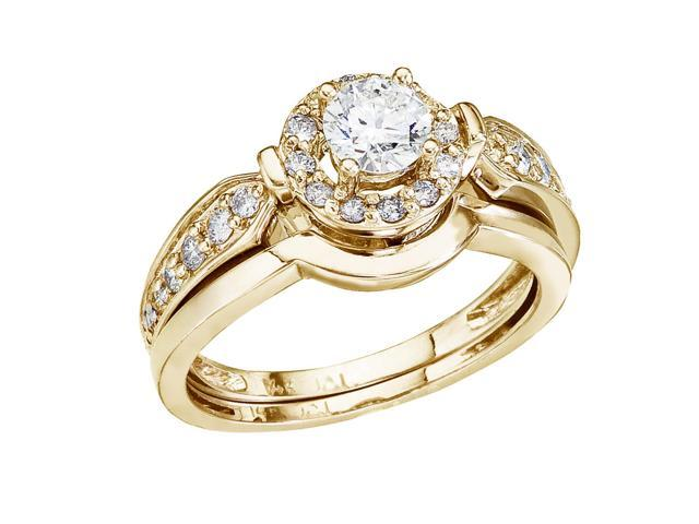 14K Yellow Gold .75 Ct Round Diamond Band Bridal Ring Set (Size 6.5)