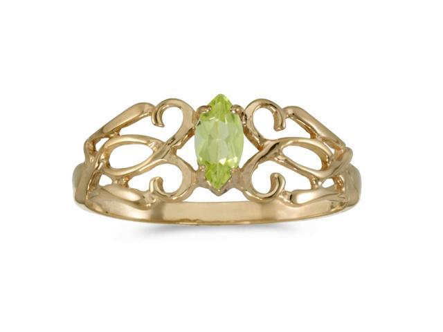 10k Yellow Gold Marquise Peridot Filagree Ring (Size 7.5)