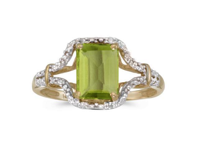 10k Yellow Gold Emerald-cut Peridot And Diamond Ring (Size 6.5)