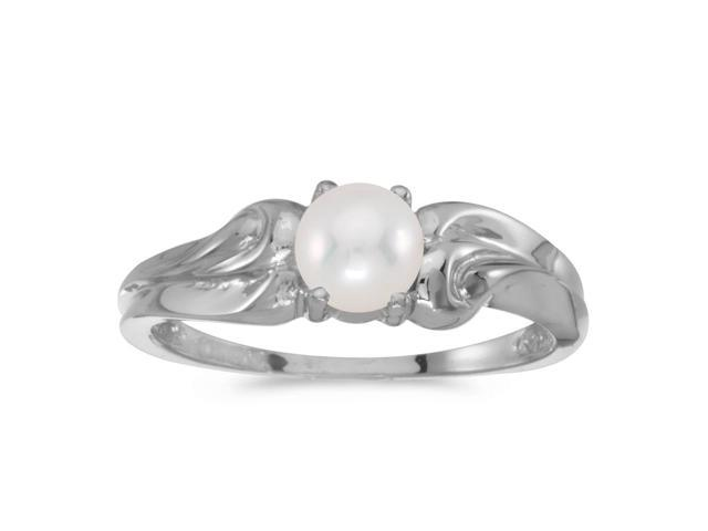 10k White Gold Freshwater Cultured Pearl Ring (Size 9)
