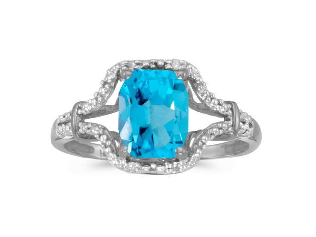 10k White Gold Emerald-cut Blue Topaz And Diamond Ring (Size 7)