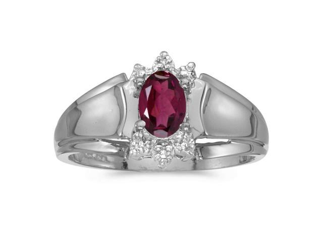 14k White Gold Oval Rhodolite Garnet And Diamond Ring (Size 5)