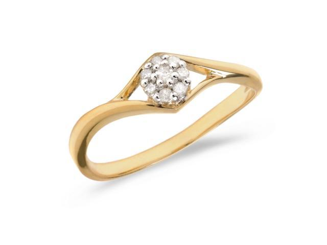 14K Yellow Gold Diamond Cluster Ring (Size 5)