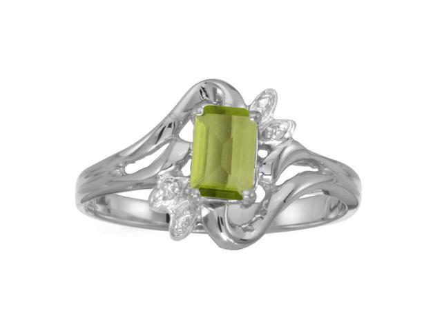 10k White Gold Emerald-cut Peridot And Diamond Ring (Size 9.5)