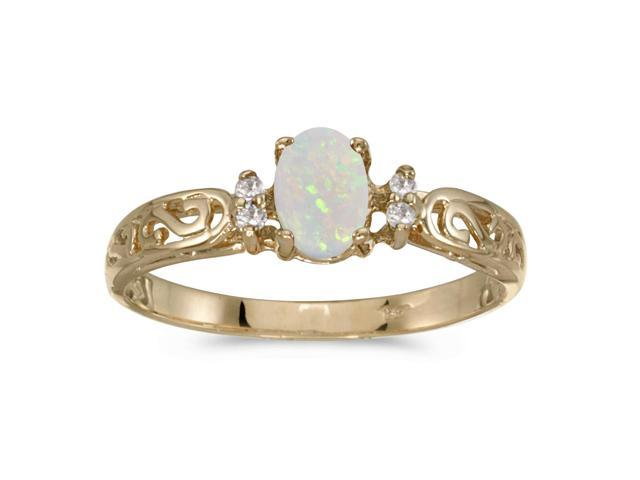 10k Yellow Gold Oval Opal And Diamond Ring (Size 5)