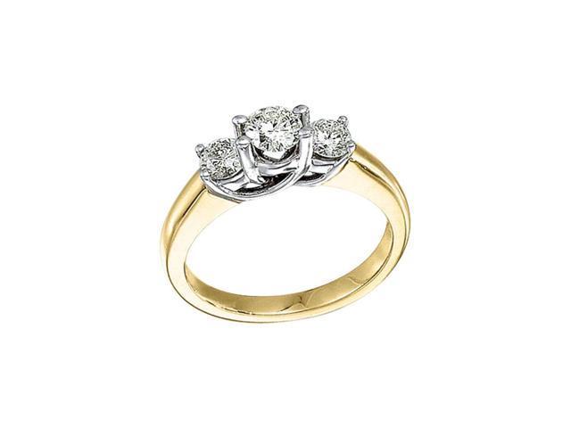 14k Yellow Gold 1.00 Ct Three Stone Trellis Diamond Ring (Size 8.5)