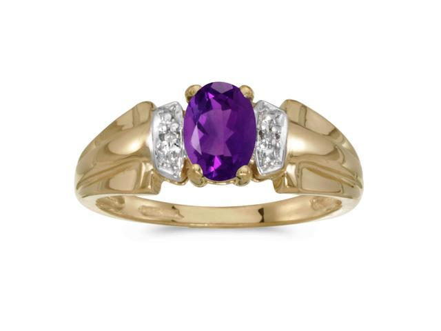 14k Yellow Gold Oval Amethyst And Diamond Ring (Size 7)