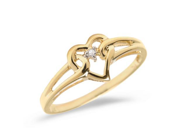 14K Yellow Gold Diamond Heart Ring (Size 5)