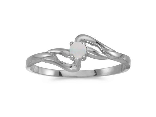 10k White Gold Round Opal Ring (Size 6)