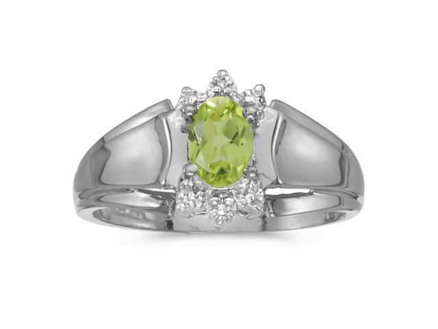 10k White Gold Oval Peridot And Diamond Ring (Size 7)