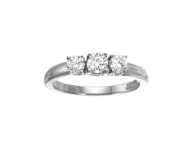 14k White Gold 0.50 Ct Three Stone Diamond Ring (Size 7.5)