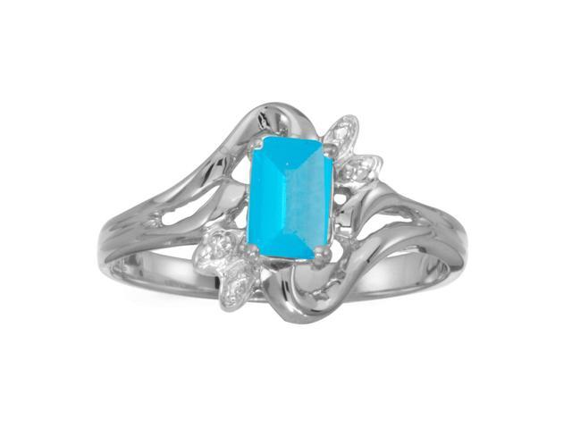 14k White Gold Emerald-cut Blue Topaz And Diamond Ring (Size 9.5)