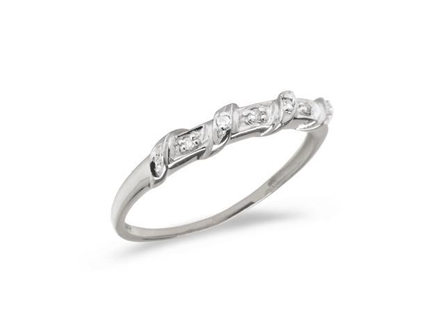10K White Gold Diamond Band Ring (Size 4.5)