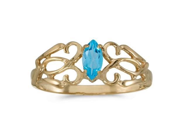 14k Yellow Gold Marquise Blue Topaz Filagree Ring (Size 7)