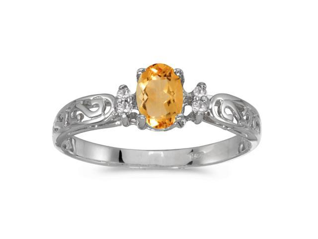 10k White Gold Oval Citrine And Diamond Ring (Size 5.5)