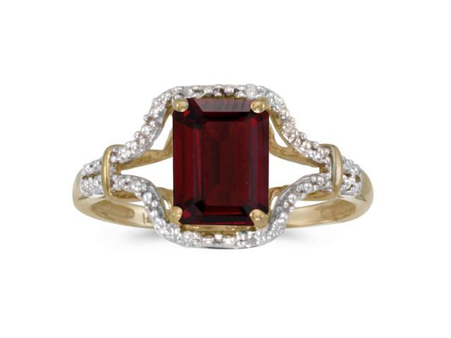 10k Yellow Gold Emerald-cut Garnet And Diamond Ring (Size 5)