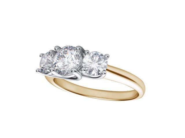 14k Yellow Gold 1.00 Ct Three Stone Diamond Ring (Size 7)