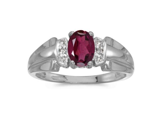 14k White Gold Oval Rhodolite Garnet And Diamond Ring (Size 9.5)