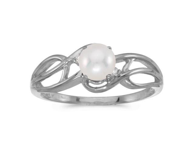 14k White Gold Freshwater Cultured Pearl And Diamond Curve Ring (Size 10)