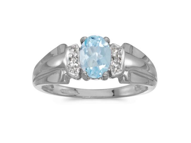 10k White Gold Oval Aquamarine And Diamond Ring (Size 10.5)