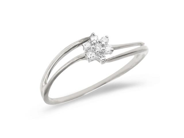 10K White Gold Diamond Cluster Ring (Size 6.5)