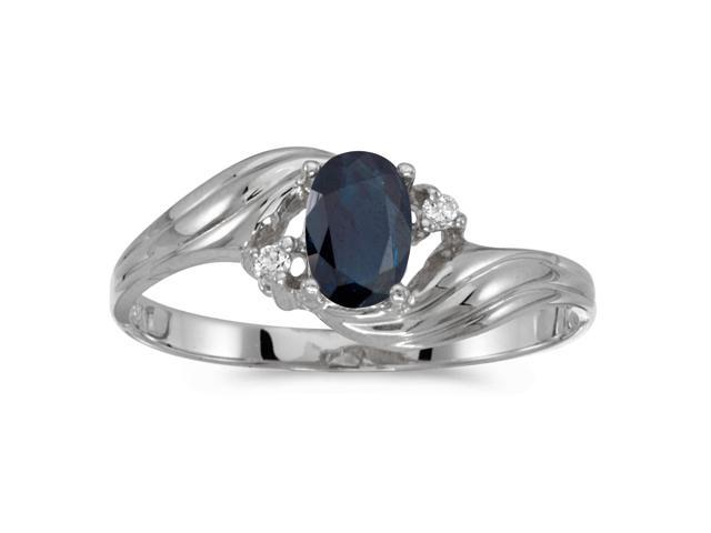 10k White Gold Oval Sapphire And Diamond Ring (Size 7)