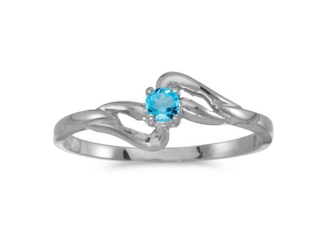 14k White Gold Round Blue Topaz Ring (Size 5.5)