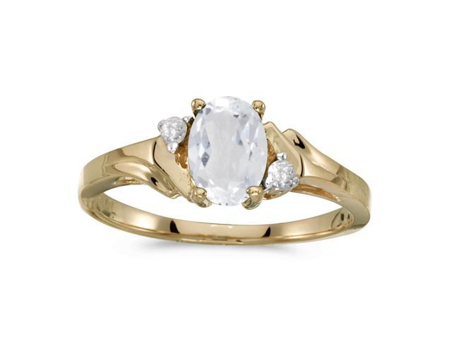 14k Yellow Gold Oval White Topaz And Diamond Ring (Size 8.5)