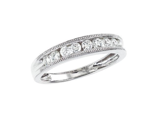 14K White Gold Channel-Set Diamond QPID Wedding Band (0.48 tcw)