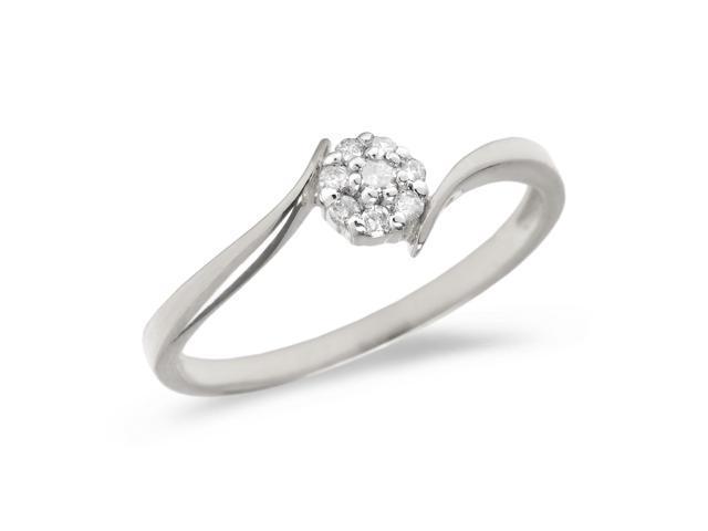 10K White Gold Diamond Cluster Ring (Size 4.5)