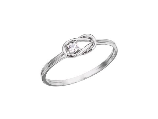 14K White Gold Boaters Knot Diamond Ring (Size 7)