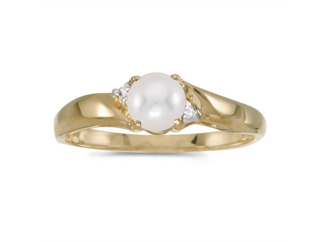14k Yellow Gold Freshwater Cultured Pearl And Diamond Ring (Size 5)