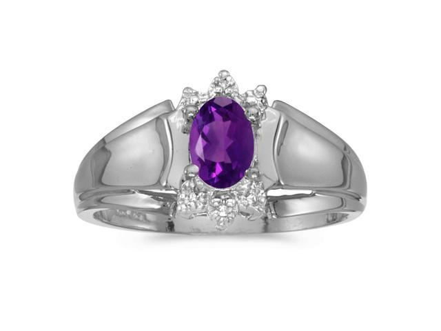 10k White Gold Oval Amethyst And Diamond Ring (Size 6.5)