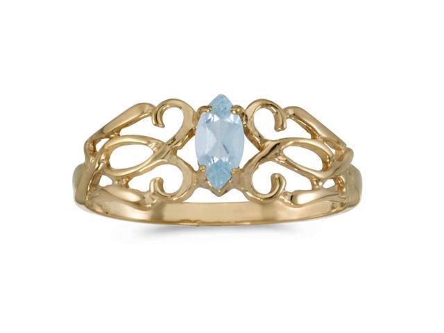 10k Yellow Gold Marquise Aquamarine Filagree Ring (Size 6)