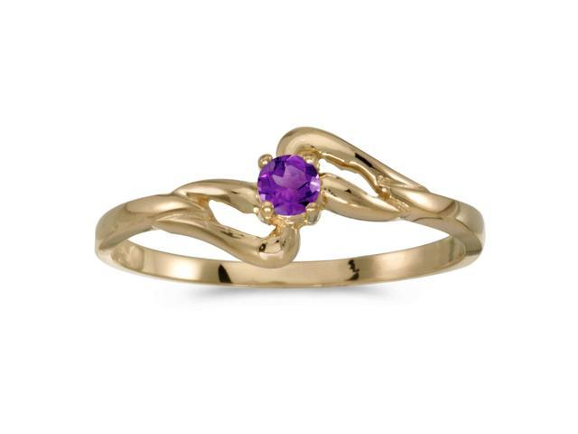 14k Yellow Gold Round Amethyst Ring (Size 8.5)