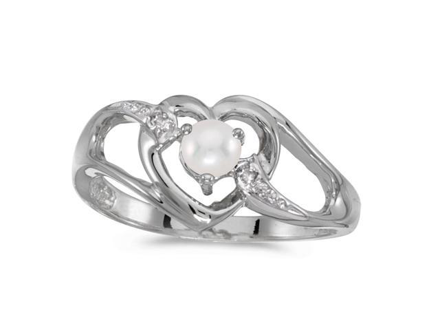 10k White Gold Freshwater Cultured Pearl And Diamond Heart Ring (Size 5.5)