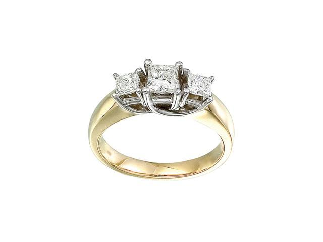 14k Yellow Gold 1.00 Ct Three Stone Trellis Diamond Ring (Size 5)