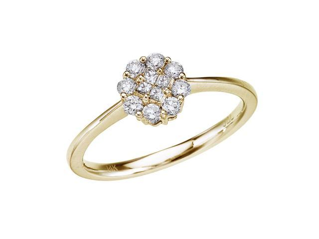 14k Yellow Gold .34 Ct Diamond Cluster Ring (Size 6)
