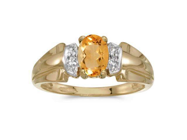 14k Yellow Gold Oval Citrine And Diamond Ring (Size 9)
