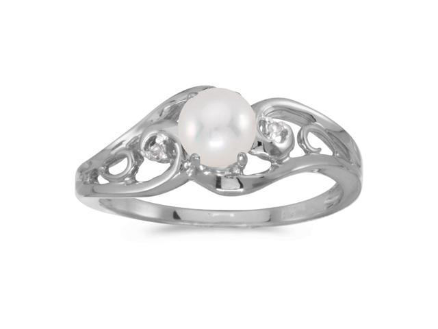 10k White Gold Freshwater Cultured Pearl And Diamond Ring (Size 7)