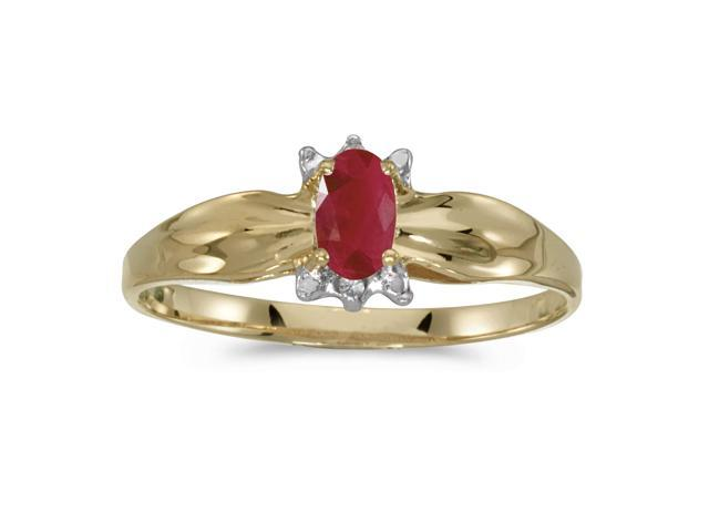 10k Yellow Gold Oval Ruby And Diamond Ring (Size 7)