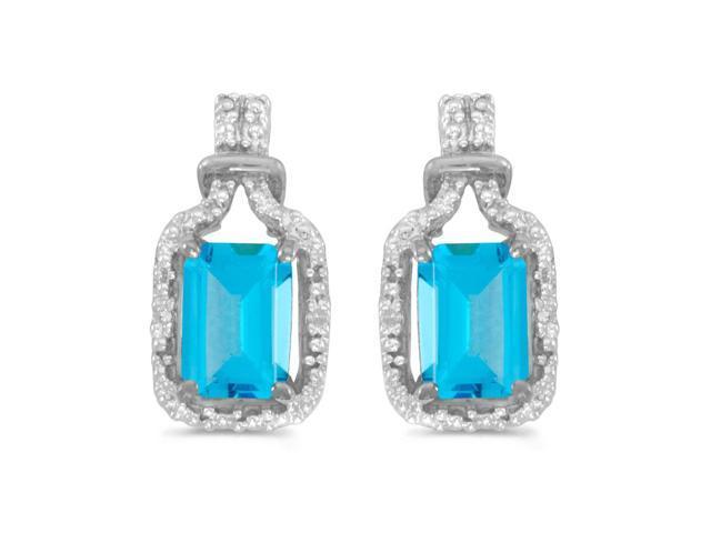 14k White Gold Emerald-cut Blue Topaz And Diamond Earrings