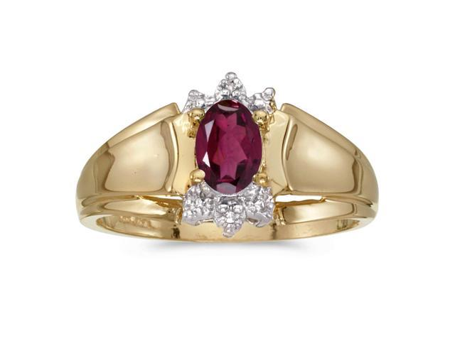 14k Yellow Gold Oval Rhodolite Garnet And Diamond Ring (Size 9.5)