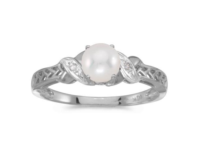 14k White Gold Freshwater Cultured Pearl And Diamond Ring (Size 9.5)