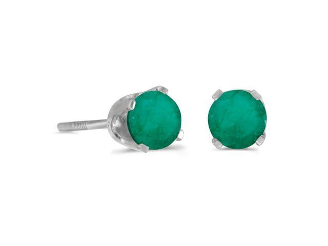 4 mm Round Emerald Screw-back Stud Earrings in 14k White Gold