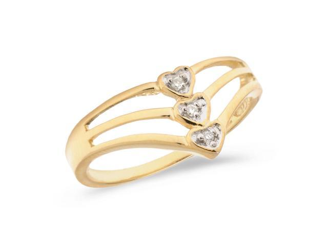 14K Yellow Gold Diamond Heart Ring (Size 6.5)